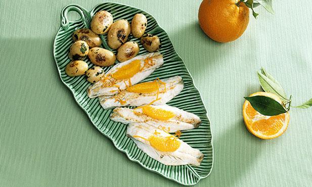 Filetes de robalo com laranja