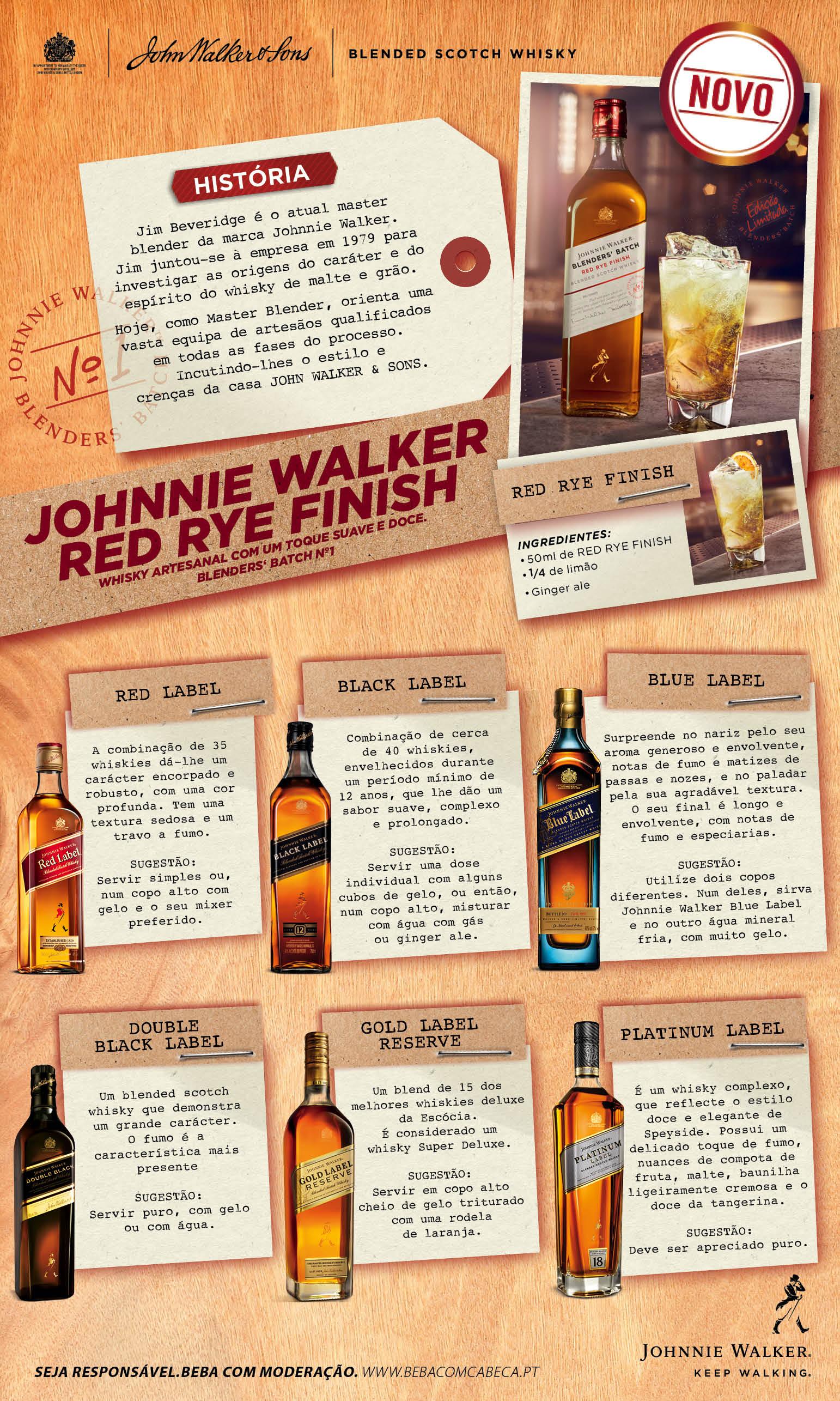 O novo Johnnie Walker Red Rye Finish é um whisky artesanal com um toque suave e doce. O Blenders' batch nº1 é perfeito para bebidas longas e de grande sabor.