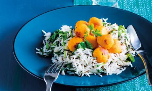 Almôndegas de cenoura com arroz