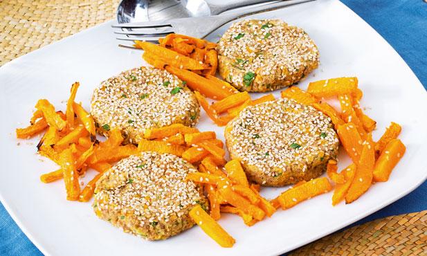 Mini-hambúrgueres de lentilhas e borrego