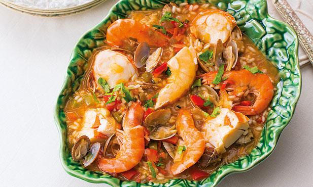 Arroz de lagosta com camarão e amêijoa