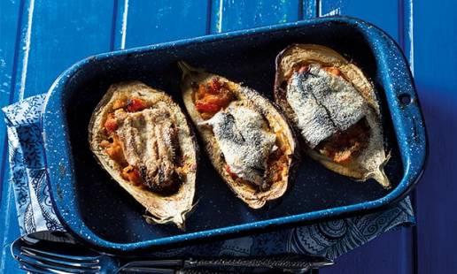 Beringelas recheadas com sardinha