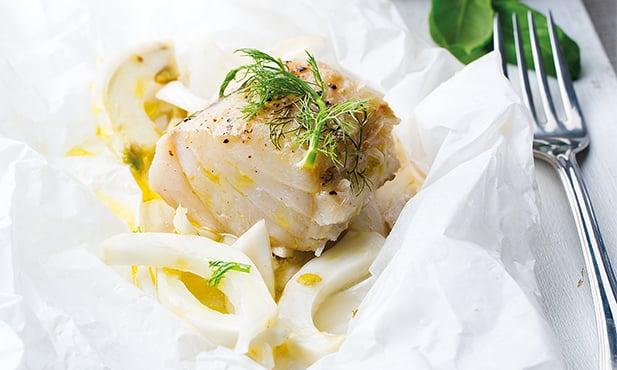 Bacalhau com guisado de grão e legumes