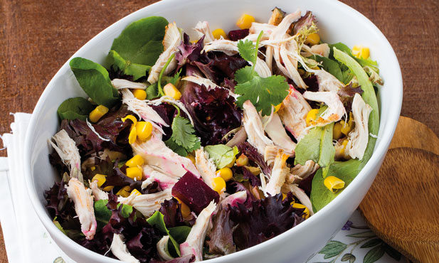 Salada de beterraba com milho e frango assado