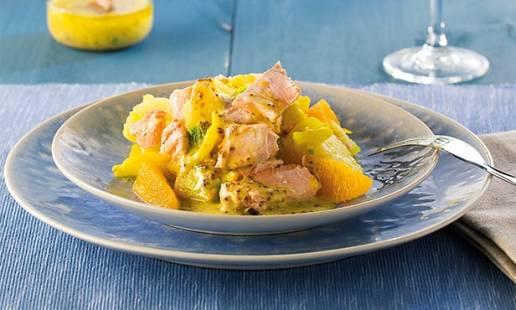 Salada de salmão com funcho e laranja