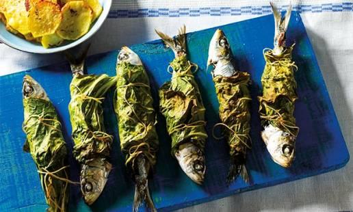 Sardinhas em couve-portuguesa
