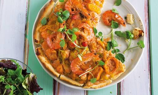 Tarte de camarão e pimentos