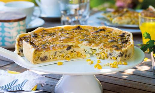 Tarte de cogumelos com alho-francês