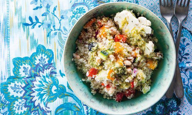 Salada de cuscuz de couve-flor