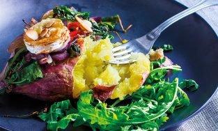 Batata-doce com chèvre e couve Kale