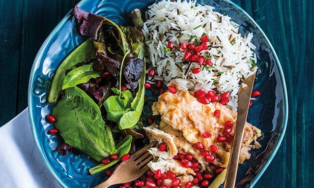 Escalopes de frango com arroz selvagem