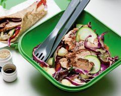 Salada de pato com couve-roxa