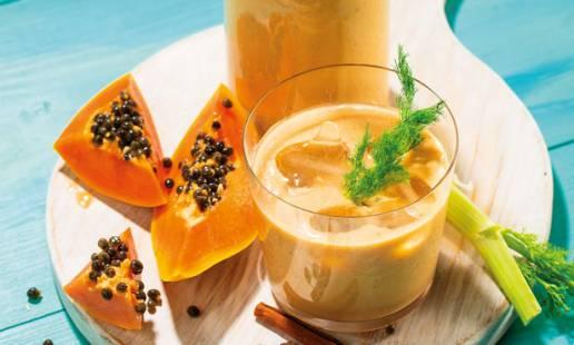 Smoothie de papaia e pêssego