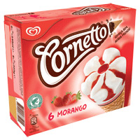 Gelado Cornetto Morango Olá Emb. 6 Unid.