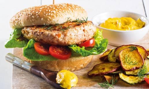 Hambúrger de tamboril e salmão
