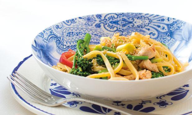 Tiras de peru com legumes no wok