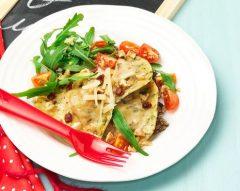 Ravioli com rúcula e cogumelos