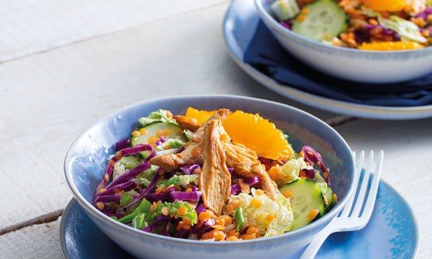 Salada de frango com lentilhas
