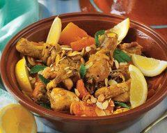 Tajine de frango com abóbora e hortelã