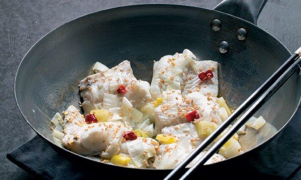 Filetes de peixe-espada ao vapor