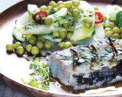 Peixe-espada com legumes