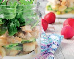 Salada de frango com ervilhas-tortas
