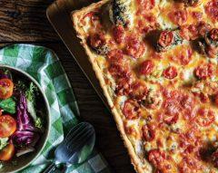 Tarte de brócolos com queijo e tomate