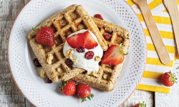 Waffles de manteiga de amendoim