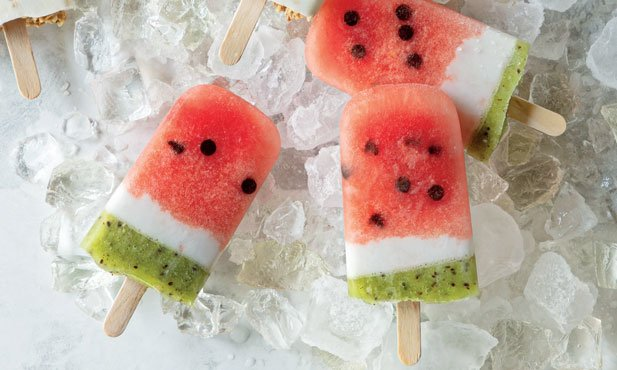 Gelado de melancia e kiwi