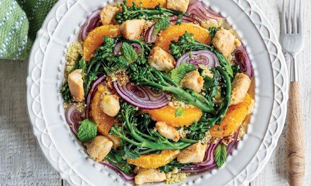 Salada de bimis e frango grelhado