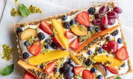 Tarte de fruta fresca e iogurte
