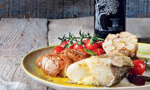 Bacalhau confitado em azeite