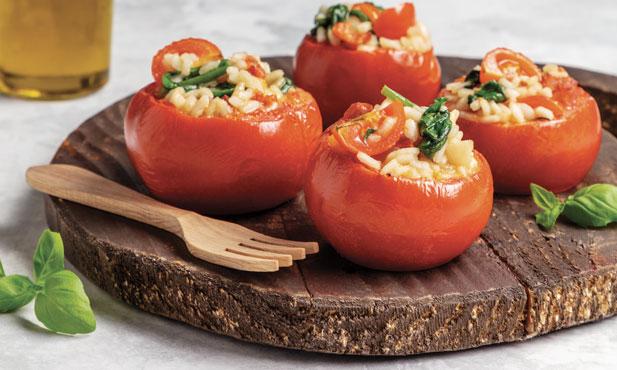Tomate recheado com risotto