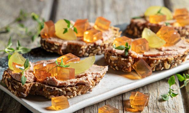 Gelatinas de Moscatel com foie gras