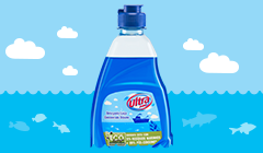 Detergente com embalagem de plástico dos oceanos