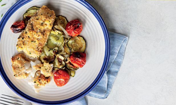 Douradinhos de pescada com legumes