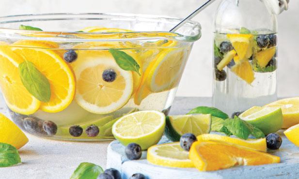 Infusão de citrinos com mirtilos