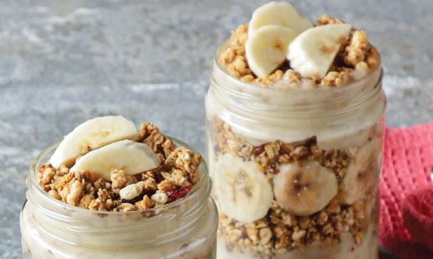 Trifle de banana com granola