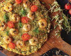 Pizza de courgette e camarão