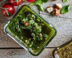Pesto de agrião e hortelã sem lactose