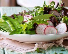 Salada verde com ervilhas-tortas