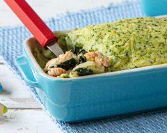 Empadão de salmão com puré de brócolos