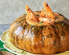 Abóbora com creme de camarão