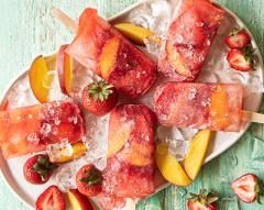 Gelado de morango e pêssego