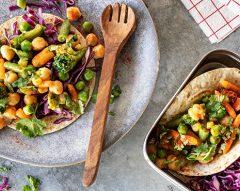 Tacos de legumes e grão