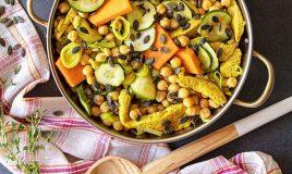 Frango com legumes e grão