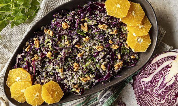 Salada de couve-roxa e nozes