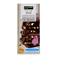 Chocolate Pura Vida Leite Com Amêndoas Sem Açúcar 100G