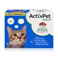 Comida Húmida para Gato c/ Pedaços em Molho ActivPet 12x100g