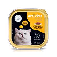 Comida Húmida Pedaços com Frango em Molho para Gato ActivPet Premium 100g